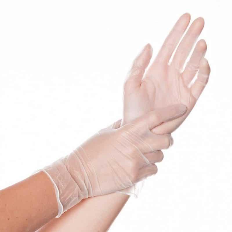 Перчатки виниловые LAB+ неопудренные бесцветные