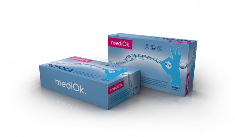 Перчатки MediOk нитриловые неопудренные голубые