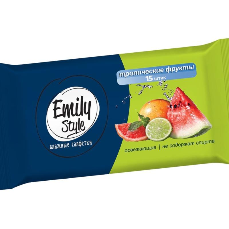 Влажные салфетки EMILY STILE универсальные. Тропические фрукты, 15 шт.
