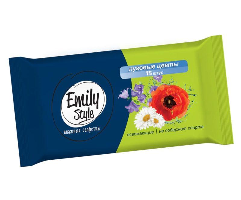 Влажные салфетки EMILY STYLE универсальные. Луговые цветы, 15 шт.