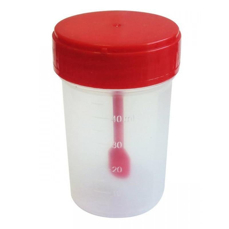 Контейнер для анализов полимерный 60 мл стерильный с ложкой