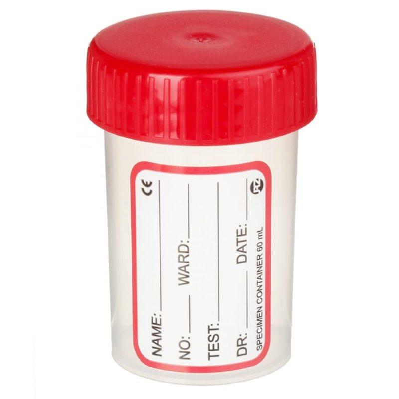 Контейнер для анализов полимерный 60 мл стерильный с наклейкой
