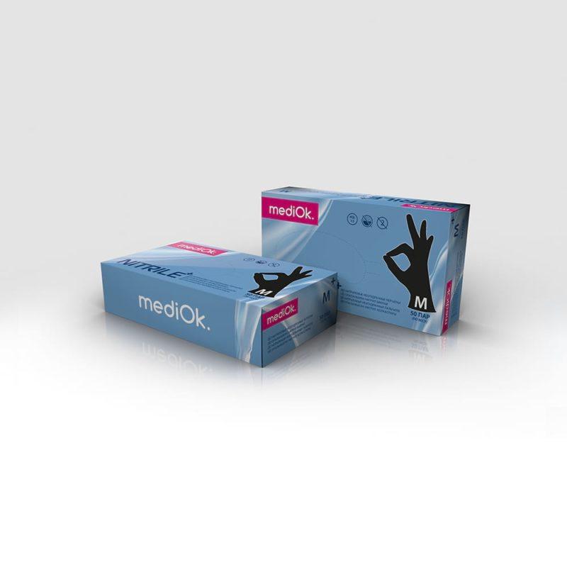 MediOk Перчатки нитриловые неопудренные черные BLACK+ (повышенной плотности)