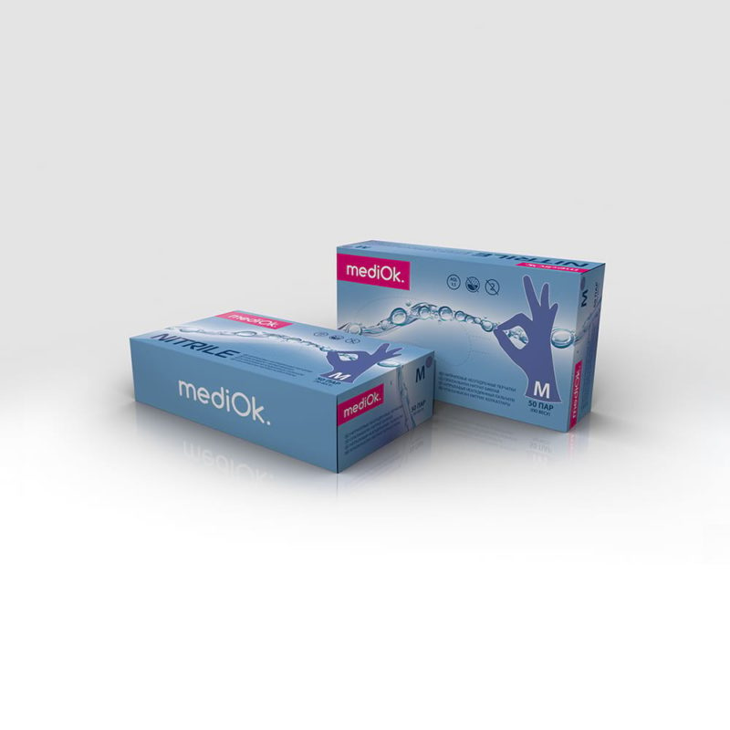 ерчатки MediOk нитриловые неопудренные синие (васильковые)