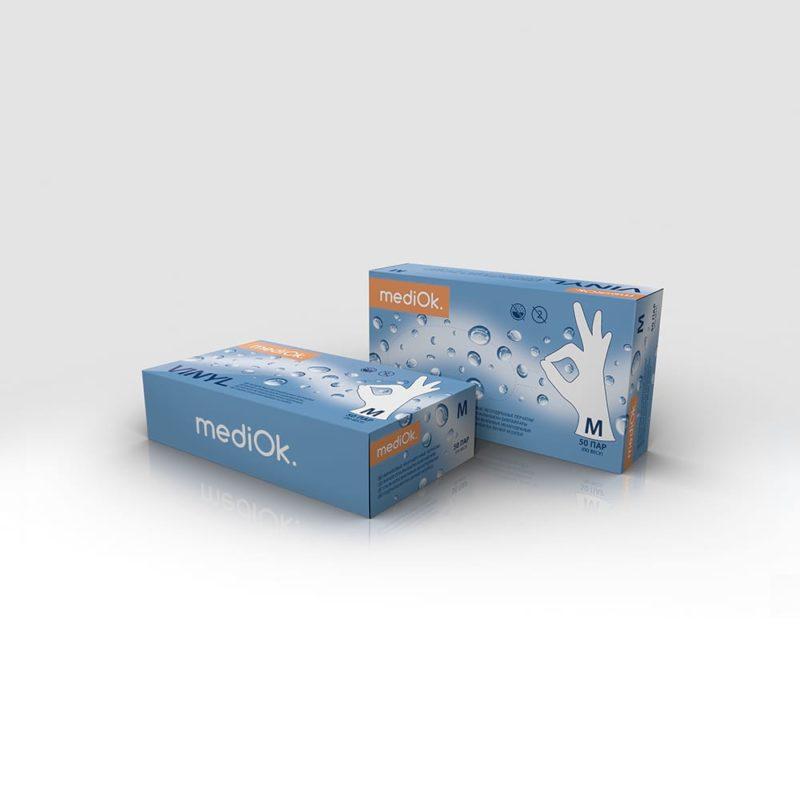 Перчатки виниловые MediOk неопудренные бесцветные