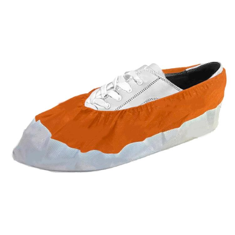 Бахилы EleGreen из нетканого материала ламинированные VIP, бело-оранжевые