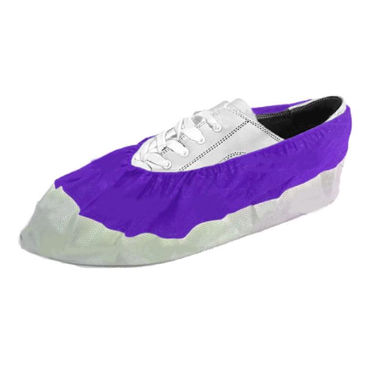 Бахилы EleGreen из нетканого материала ламинированные VIP, бело-фиолетовые