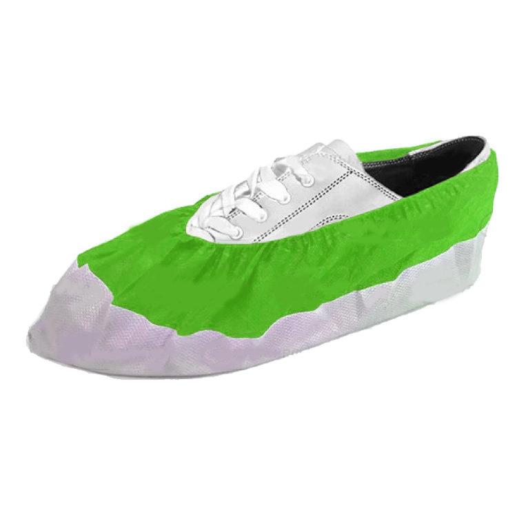 Бахилы EleGreen из нетканого материала ламинированные VIP, бело-зеленые
