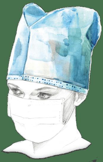 Одноразовая шапочка-колпак, модель «Пилот», голубая.