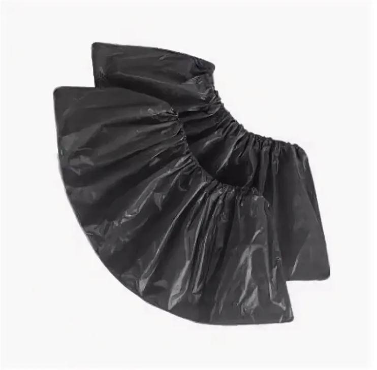 Бахилы медицинские черные с двойной резинкой (36 мкр.)