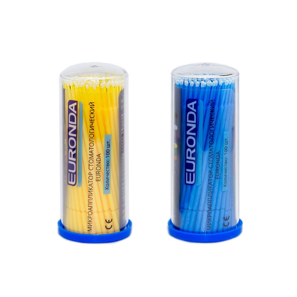 Аппликаторы (микробраши) Euronda №3 Fine желтые+голубые (100 шт.)