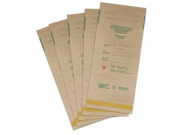 Крафт пакет бумажный самоклеящийся плоский ПБСП-СТЕРИМАГ 150х250 мм.