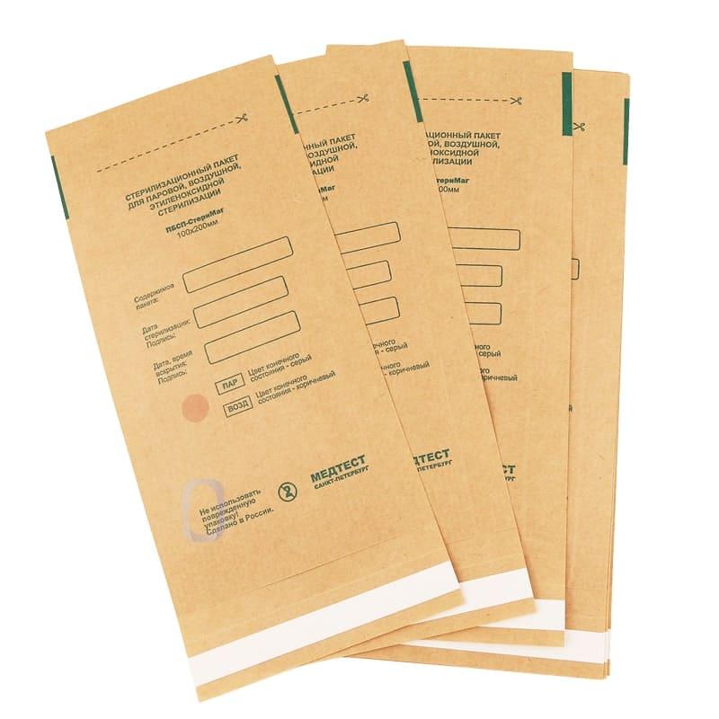 Крафт пакет бумажный самоклеящийся плоский ПБСП-СТЕРИМАГ 100х200 мм.