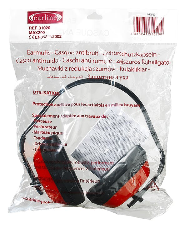 Наушники МАХ 200, 27 дБ, красные, в индивидуальной упаковке
