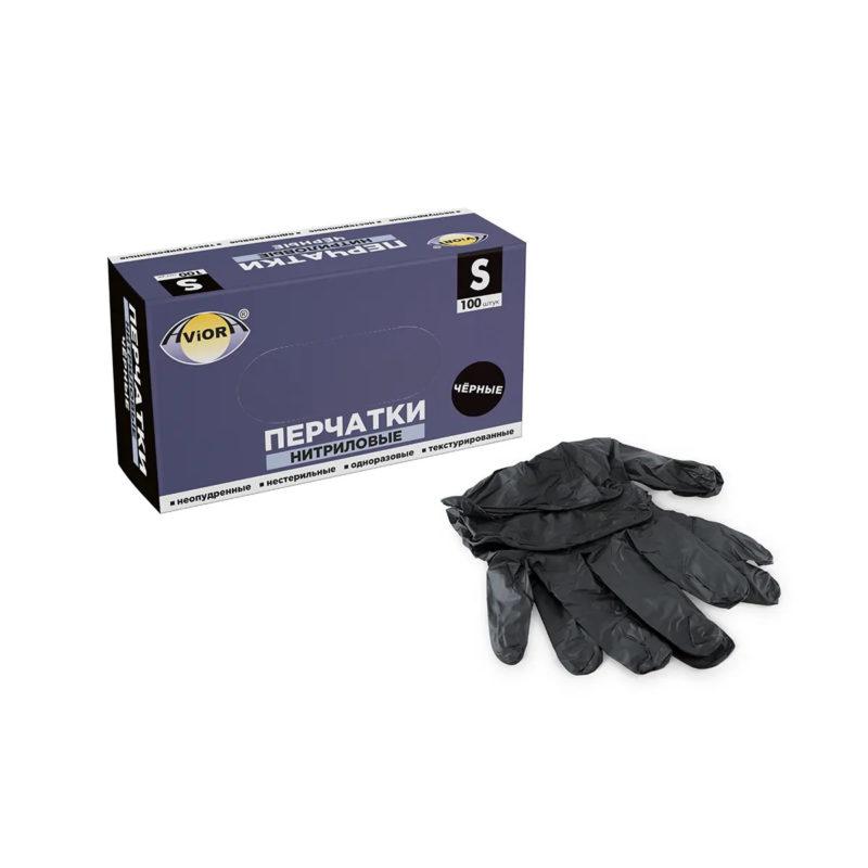 Перчатки нитриловые AVIORA черные (50 пар/уп)