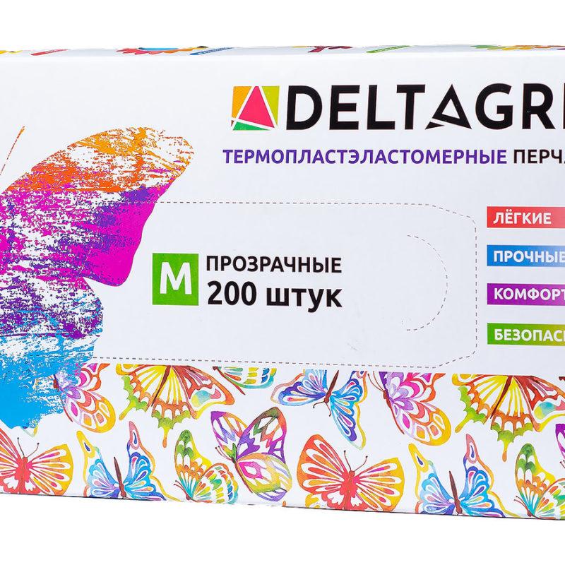 Перчатки TPE DELTAGRIP, прозрачные, размер L, 1/100 пар
