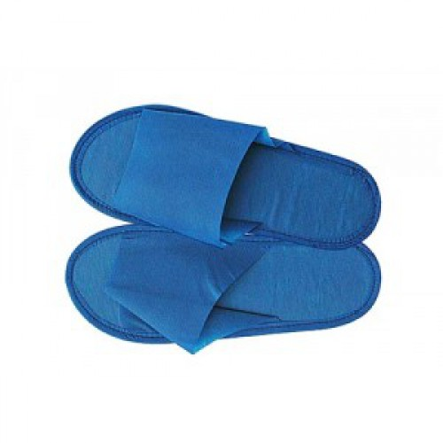 Тапочки с открытым мысом (BENOVY) на жесткой подошве, спанбонд/изолон, синие