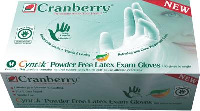 Перчатки Cranberry аромат мяты, неопудренные текстурные. (100 пар/уп)